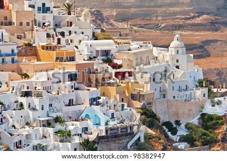The view of city Fira, Greece, Santorini island - stock photo