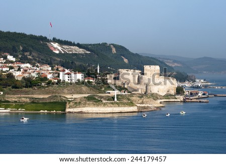 The view of Dardanelles inlet with Kilitbahir castle (Turkey). - stock photo