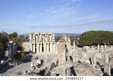 The view of Ephesus city ruins with Celsus Library in the middle (Turkey). - stock photo