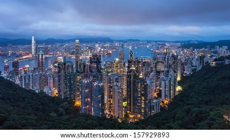 The view of Hongkong from the peak , Hongkong - stock photo