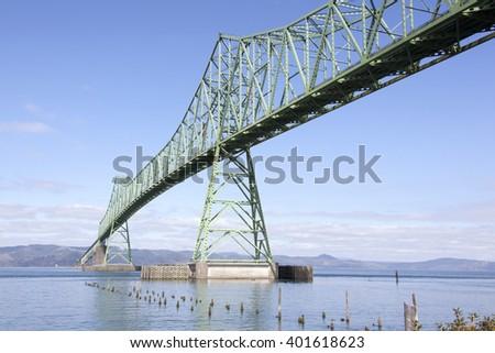 The view of long Astoria Bridge over Columbia River (Astoria, Oregon). - stock photo