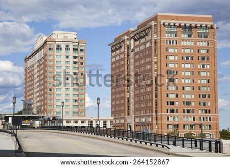 The view of one of many bridges in the city of Boston (Massachusetts). - stock photo