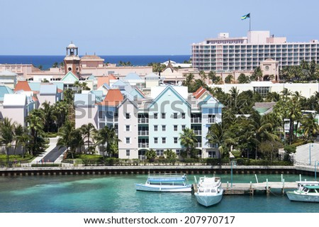 The view of residential buildings and resorts on Paradise Island (The Bahamas). - stock photo