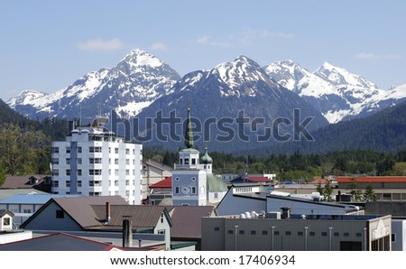 The view of Sitka downtown, Alaska. - stock photo
