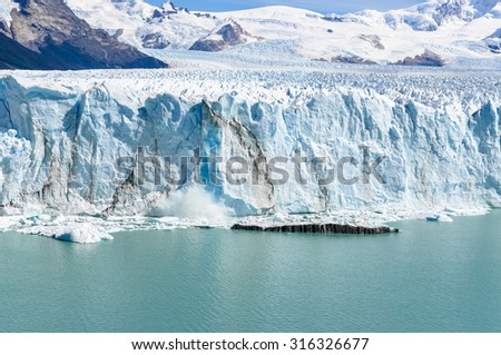 The view of the Perito Moreno Glacier from in front, Patagonia, Argentina - stock photo