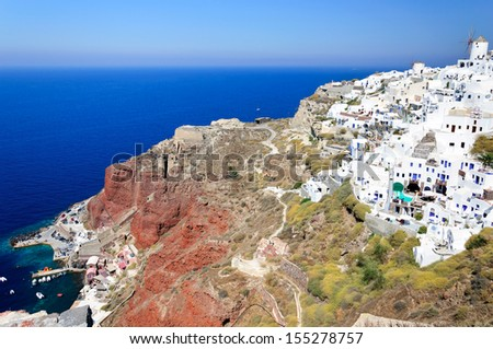 The view of traditional village of Thira, Santorini, Greece - stock photo