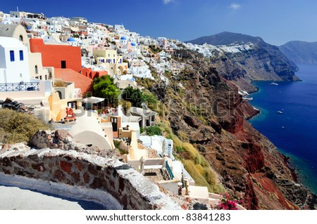 The view of traditional village of Thira, Santorini, Greece. - stock photo