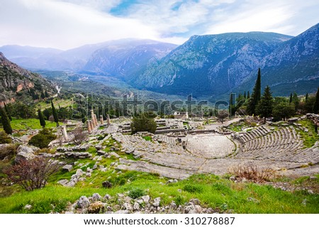 The view on Greek ancient amphitheater in Delphi with mountains - stock photo