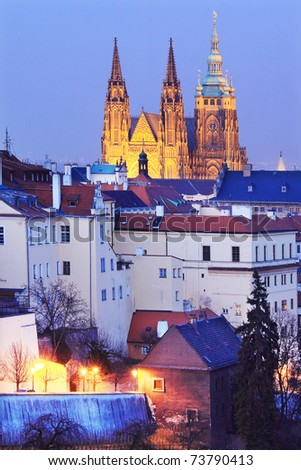 The View on Prague gothic Castle after Sunset, Czech Republic - stock photo