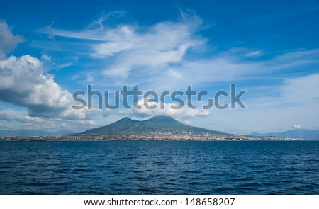 The view on the  great Mount Vesuvius, the stratovolcano in the Gulf of Naples, Italy - stock photo