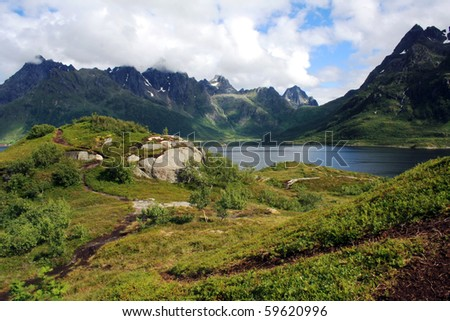 the view on the landscape in Lofoten islands - stock photo