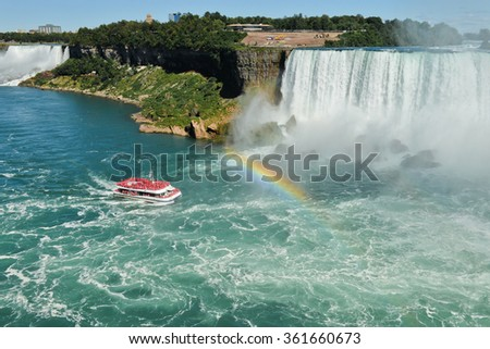 The view to the Niagara fall and a rainbow - stock photo