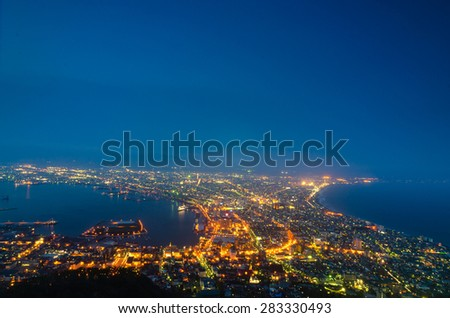 The views from the mountain Hakodate are spectacular and included among Japan's three best night view - stock photo