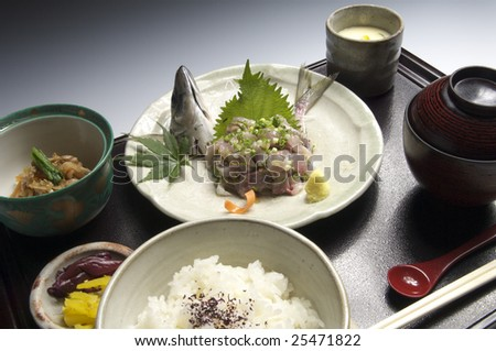 The vigor structure set meal of the horse mackerel	 - stock photo