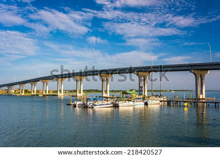 The Vilano Causeway, in Vilano Beach, Florida. - stock photo