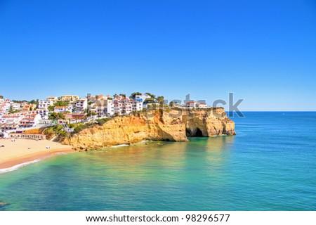 The village Carvoeiro in the Algarve Portugal - stock photo
