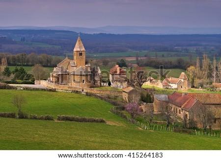 the village La Chapelle-Sous-Brancion in Burgundy, France - stock photo