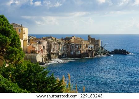 The village of Erbalunga, in Cap Corse, Corsica, France - stock photo