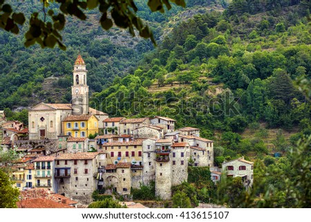 The Village of Luceram, Alpes-Maritimes, Provence, France - stock photo