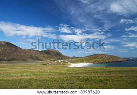 The village of Northton on South Harris on a glorious summer day - stock photo
