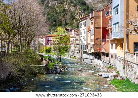 The Village of Ribes de Freser in Catalonia - stock photo
