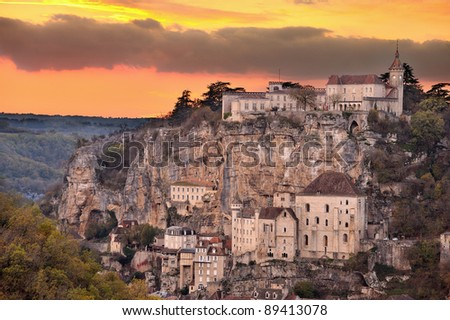 The village of Rocamadour in France, Word heritage of Unesco - stock photo