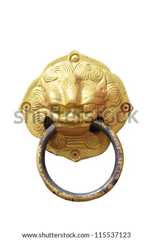 The Vintage knocker of golden lion isolated on white background - stock photo