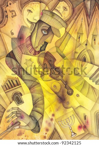 The violinist plays on a violin - stock photo