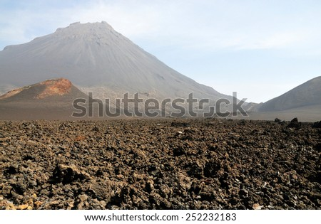 """The Volcanic landscape of """"Pico do Fogo"""" part of the Volcano National park on the island of Fogo, Cabo Verde is a natural oasis waiting to be explored. - stock photo"""