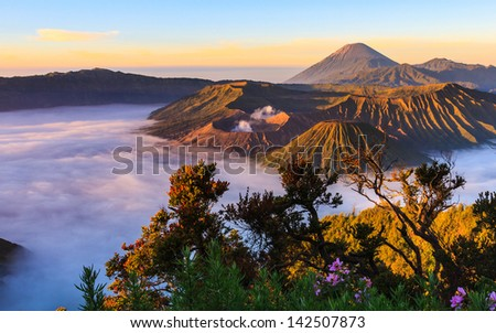 the volcano in sunrise have good light - stock photo