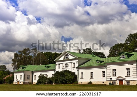 The Volkonskiy house at the Yasnaya Polyana Tolstoy's estate in Russia where Leo Tosltoy's grandfather Nikolai lived, is the oldest structure on the estate. - stock photo