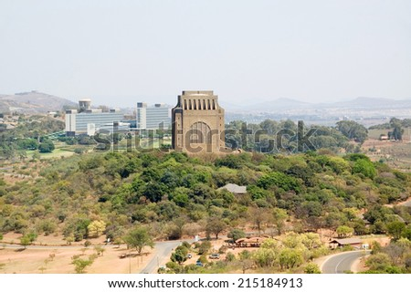 The Voortrekker Monument on Monument Hill in Pretoria, South Africa as seen from Fort Skanskop  - stock photo