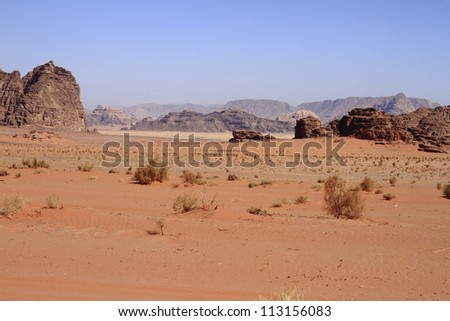 The Wadi Rum is the largest wadi in Jordan. - stock photo