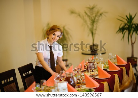 the waiter in the restaurant - stock photo