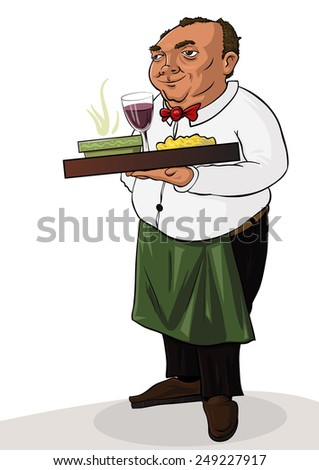 The waiter with tray of drinks and towel in hand - stock photo