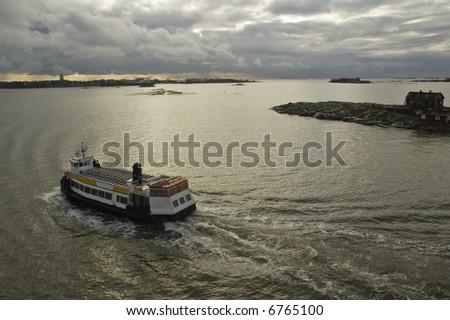 The walking ship in harbour of Helsinki - stock photo