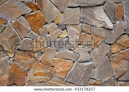 The wall of  stone, Rough masonry, background, texture - stock photo