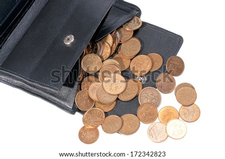 the wallet picture the scattered trifle on a white background is taken with pulse light - stock photo