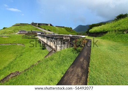 The walls of Brimstone Hill Fortress on the Caribbean island of St Kitts. - stock photo