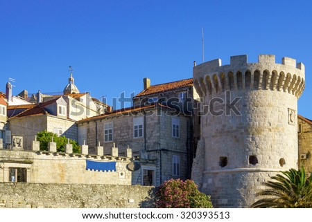 The walls of the old town , in Korcula, Croatia - stock photo