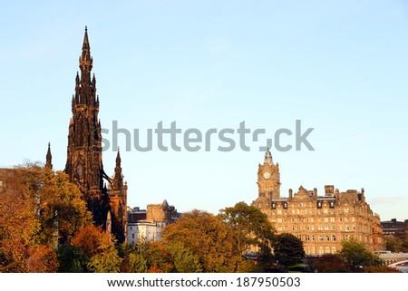The Walter Scott Monument in Edinburgh, Scotland - stock photo