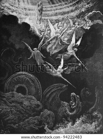 The war with the dragon. 1) Le Sainte Bible: Traduction nouvelle selon la Vulgate par Mm. J.-J. Bourasse et P. Janvier. Tours: Alfred Mame et Fils. 2) 1866 3) France 4) Gustave Doré - stock photo