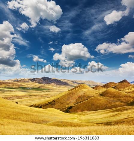 The waste ground between Georgia and Azerbaijan, Kakhetia, David Gareja region, Georgia, Europe. Caucasus. Beauty world. - stock photo
