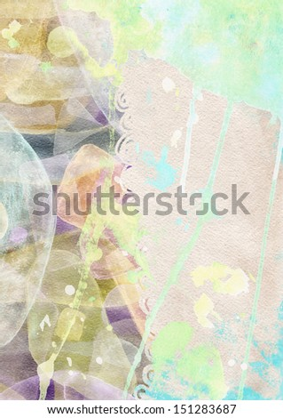 the watercolor vertical background with splashes and ornate in the grunge style - stock photo