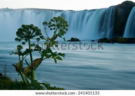 The waterfall Godafoss Iceland - stock photo