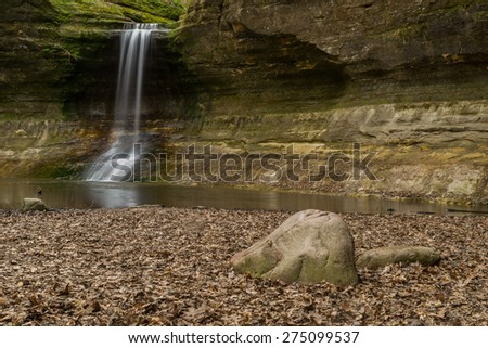 The waterfall in the Lower Dells, Matthiessen, Illinois. - stock photo