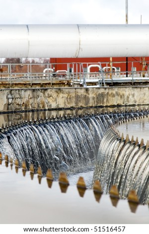 The waterfall of clean waste water - stock photo