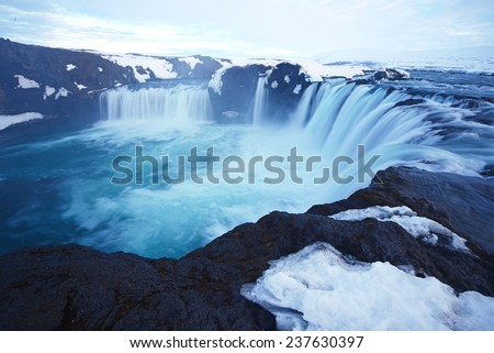 the waterfall of god in iceland in late winter, Godafoss - stock photo