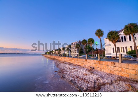The Waterfront in Charleston, SC During a Sunrise - stock photo