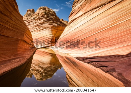The Wave, Arizona - Coyote Buttes North, amazing canyon rock formation near Page - stock photo